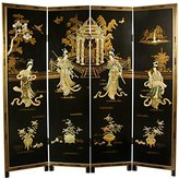 Oriental Furniture Asian 72-Inch Lady Generals Chinese Lacquer Decorative Oriental Art Screen