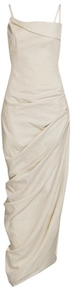 Jacquemus La Robe Saudade Linen-Blend Draped Maxi Dress