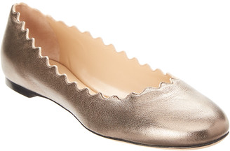 Chloé Lauren Scalloped Metallic Leather Ballerina Flat