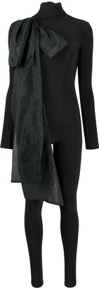 Atu Body Couture Body Con Jumpsuit With Oversized Bow Detail