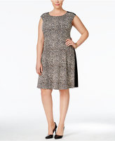 Connected Plus Size Animal-Print Colorblocked Dress