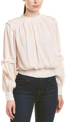 Joie Mock Neck Pleated Top