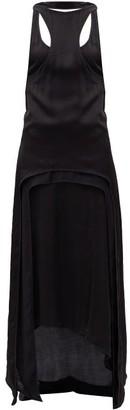 Ann Demeulemeester Meryl Layered Crepe And Mesh Dress - Womens - Black