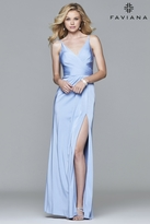 Faviana 7755 Faille satin v-neck evening dress with draped front and skirt with high slit