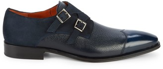 Mezlan Textured Leather & Suede Double Monk Strap Loafers