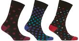 John Lewis Multi Spot Socks, Pack Of 3, Black/multi