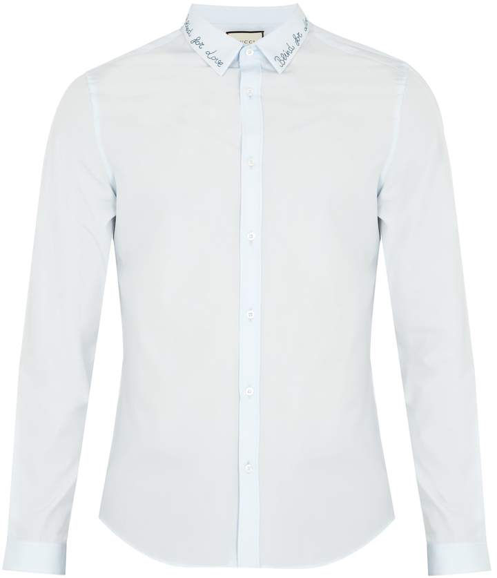 Gucci Embroidered-collar cotton shirt