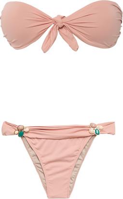 Adriana Degreas Stone-embellished Knotted Bandeau Bikini