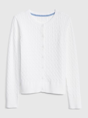 Gap Kids Uniform Cable Knit Cardigan Sweater