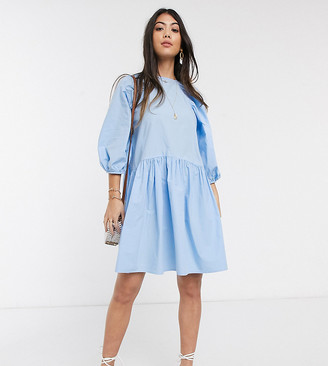 Vero Moda Petite oversized poplin smock dress in blue