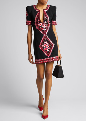 Naeem Khan Floral-Embroidered Crepe Cocktail Dress