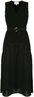 3.1 Phillip Lim V Neck Tank Crepe Dress W Shirred Skirt