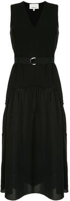 3.1 Phillip Lim V Neck Tank Crepe Dress W Shirred Skirt