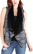 Black & White Geometric Faux-Fur Collar Vest