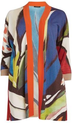 Marina Rinaldi Abstract Print Open-Front Cardigan