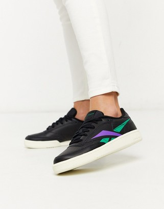 Reebok Club Classic 85 sneakers in chalk black & emerals grape punch