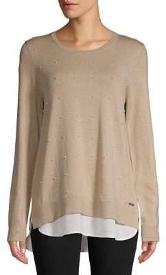Calvin Klein Faux Pearl Embellished Twofer Sweater