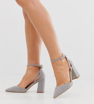 Raid Wide Fit RAID Wide Fit Katy Light Gray Block Heeled Shoes