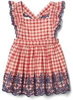 Gingham eyelet flutter dress