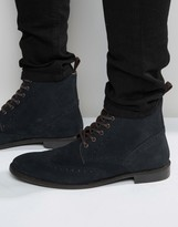 Asos Brogue Boots in Navy Suede With Tan Leather Trims