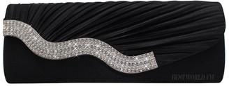 Wocharm Womens Party Prom Evening Clutch Bag Ladies Satin Crystal Diamante Wedding Handbag (Grey)