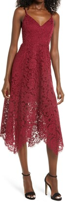 Lulus One Wish Lace Floral Dress
