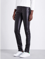Calvin Klein Drainpipe skinny mid-rise leather jeans