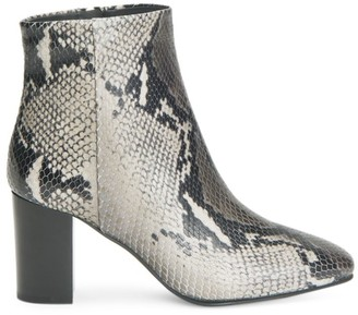 Aquatalia Florita Snake-Print Leather Heeled Booties