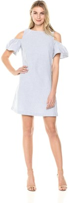 Lark & Ro Women's Short Sleeve Cold Shoulder Chambray Striped Dress