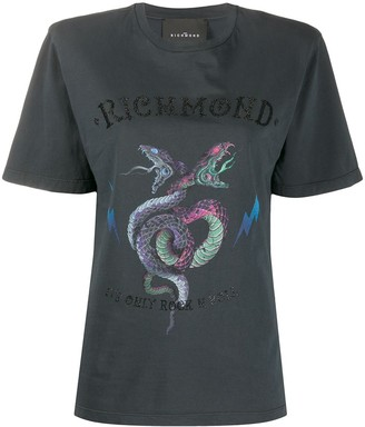 John Richmond snake logo print boxy fit T-shirt