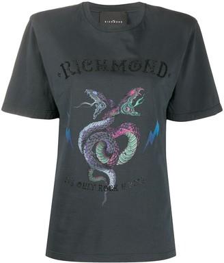 John Richmond snake logo print boxy fit T-shirt