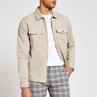 River Island Mens Beige zip front regular fit overshirt jacket