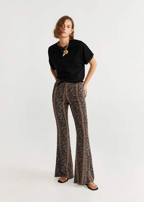MANGO Printed flared pants mustard - XXS - Women