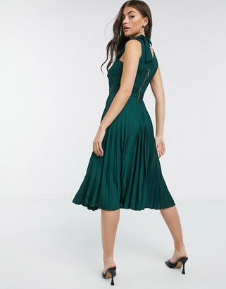 Closet London Closet high-neck pleated skirt midi dress in forest green