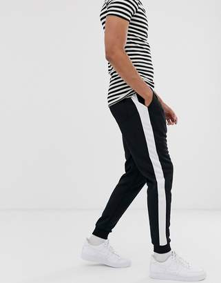 ONLY & SONS side stripe sweat joggers in black