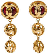 One Kings Lane Vintage Chanel Red Gripoix Logo Dangle Earrings - Vintage Lux - red/gold