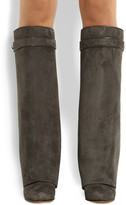 Givenchy Shark Lock wedge knee boots in gray-green suede