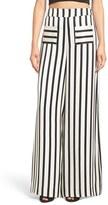 KENDALL + KYLIE Women's Stripe High Rise Wide Leg Silk Pants