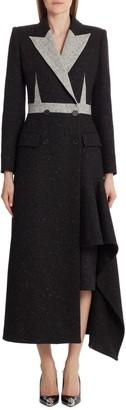 Alexander McQueen Asymmetrical Wool Blend Coat