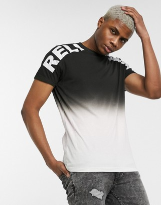 Religion color fade logo t-shirt in black and pink