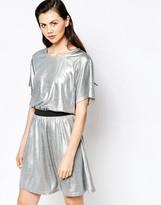Monki Metallic Mini Skater Dress