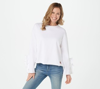 Peace Love World French Terry Pullover with Flounce Sleeve