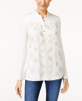 Alfani Petite Embellished Band-Collar Top, Created for Macy's