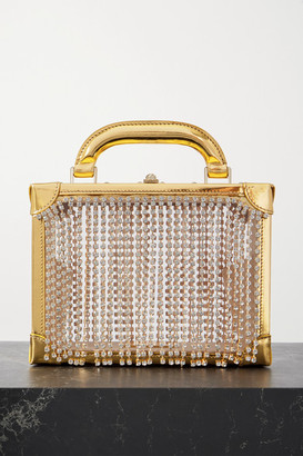 Area Ling Ling Crystal-embellished Metallic Leather And Pvc Tote - Gold