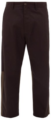 Marni Panelled Twill Kick-flare Trousers - Mens - Black Red