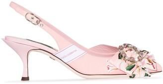 Dolce & Gabbana Floral Print Crystal-Buckle Pumps