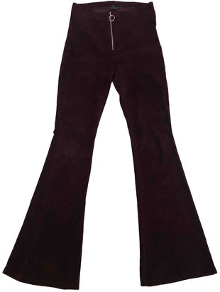 Topshop Tophop Burgundy Velvet Trousers for Women