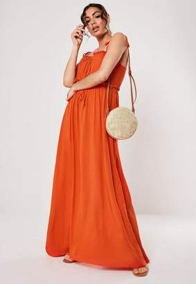 Missguided Orange Cami Tie Maxi Dress