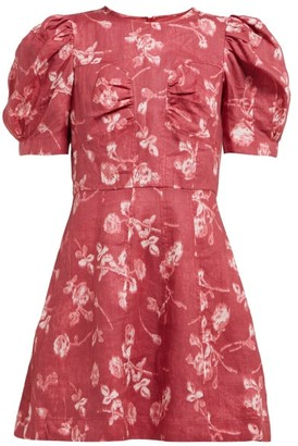 Sea Monet Floral-print Puff-sleeve Mini Dress - Womens - Dark Pink