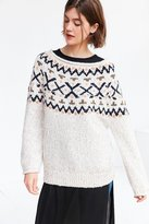 Ecote Cassie Fair Isle Off-The-Shoulder Sweater